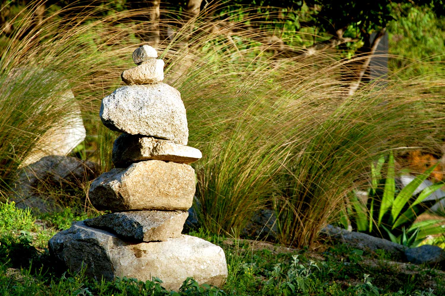 stacked stones at Vieques vacation villa